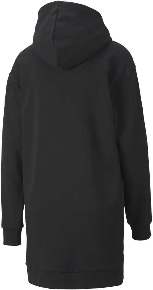 Dámske mikinové čierne šaty s kapucňou