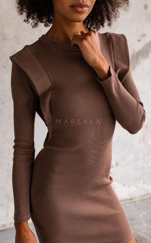 Dámske priliehavé šaty v hnedej farbe