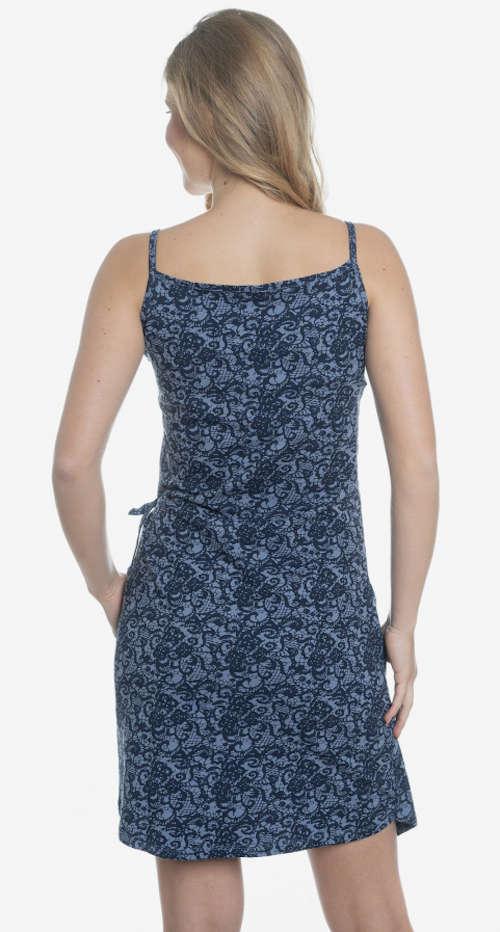 Elegantné šaty na ramienka s potlačou