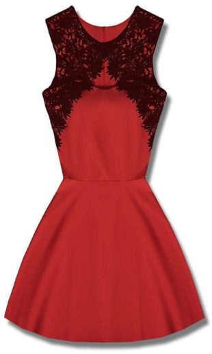 Červené spoločenské šaty s čiernou čipkou