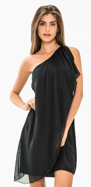 Čierne dámske asymetrické minišaty na jedno rameno