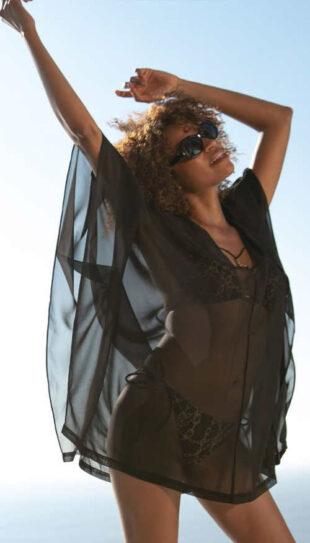 Čierne priesvitné ľahučké šaty cez plavky