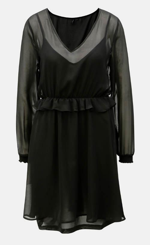 Čierne šaty s šifónovým volánom
