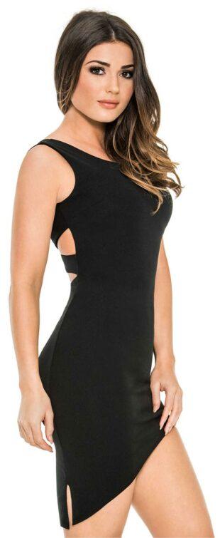 Čierne šaty s vypodloženým dekoltom pre nosenie bez podprsenky