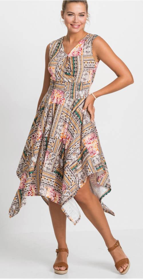 Dámske šaty s prekladaným výstrihom a širokou asymetrickou sukňou