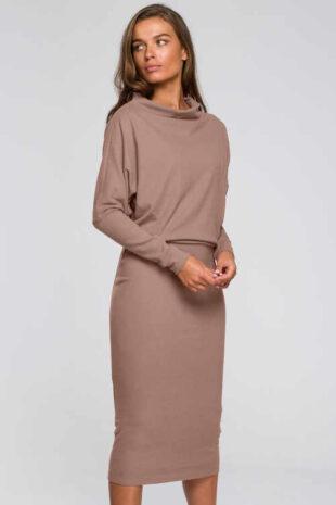 Elegantné dámske šaty v modernej midi dĺžke s dlhým rukávom