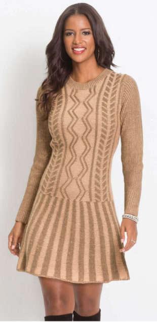 Krátke pletené svetrové šaty s dlhými rukávmi