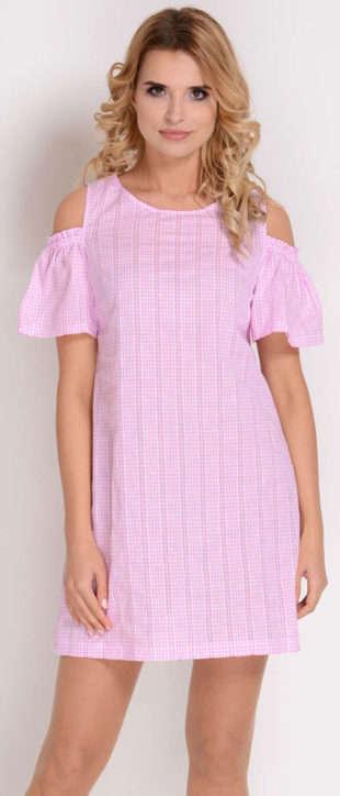 Lacné dámske letné šaty s drobnou kostičkou