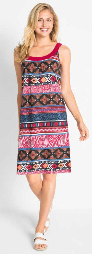 Letné bavlnené vzorované šaty na ramienka bez rukávov