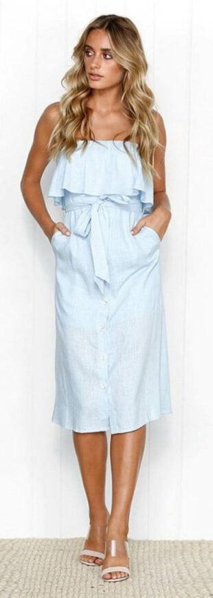 Letné šaty nad prsia s volánikom a mašľou