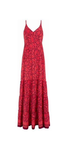Maxi šaty v červenom prevedení s celoplošnou potlačou