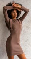 Moderné dámske šaty s prímesou elastanu v hnedom prevedení