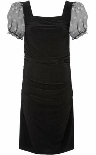 Moderné šaty s naberanými rukávmi a hranatým výstrihom