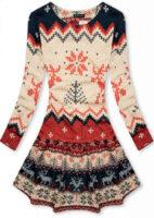 Moderné vzorované zimné šaty s motívom sobov v kratšej dĺžke