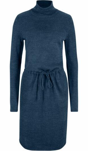 Pletené šaty so stojačikom v tmavo modrom melíru