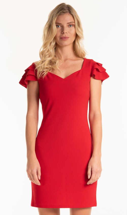 Puzdrové šaty s volánikmi na rukávoch v červenom prevedení
