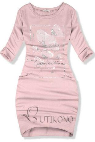 Ružové jesenné bavlnené šaty s decentnou potlačou