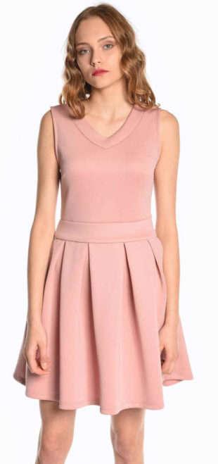 Ružové spoločenské skater šaty so skladanou sukňou