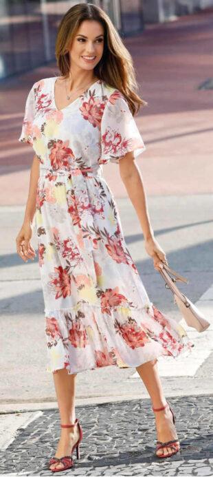 Spoločenské kvetinové letné šaty pre plnoštíhle