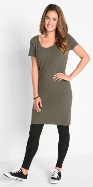 Strečové midi šaty s krátkym rukávom