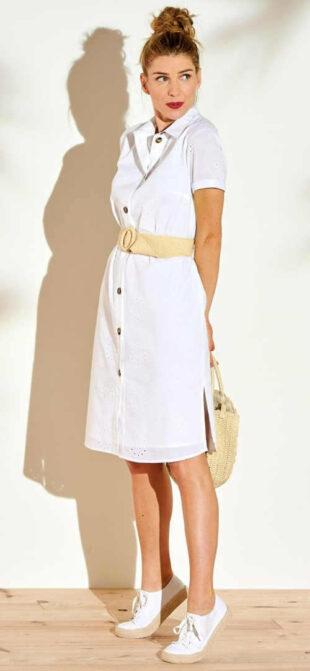 Štýlové šaty košeľového strihu s anglickou výšivkou