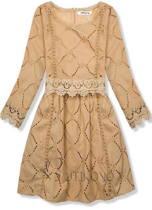 Svetlo hnedé šaty s vyšívanou čipkou a spodničkou
