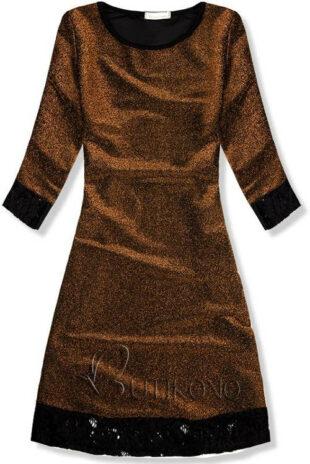 Trblietavé zlaté šaty s polodlhými rukávmi