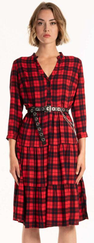 Trendy kárované košeľové šaty v dĺžke ku kolenám