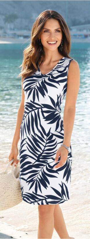 Úpletové letné šaty s potlačou palmových listov