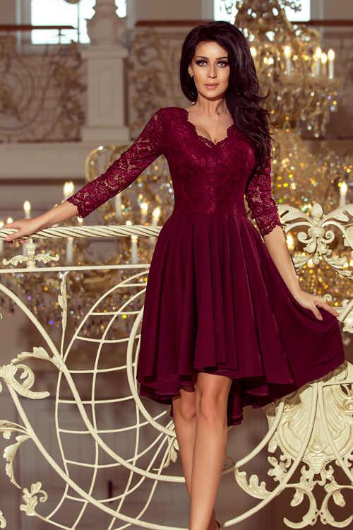 Vínovej plesové šaty s čipkovanými rukávmi