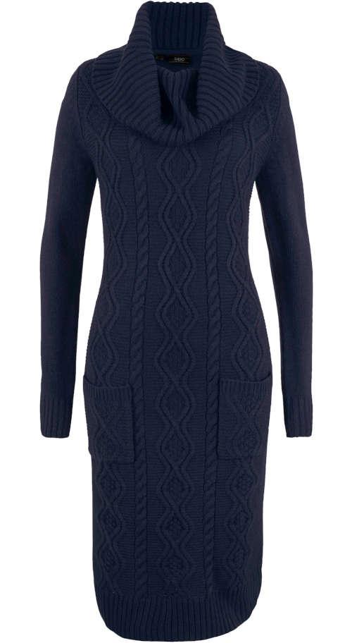 Zimné šaty s vreckami s moderným pleteným vzorom