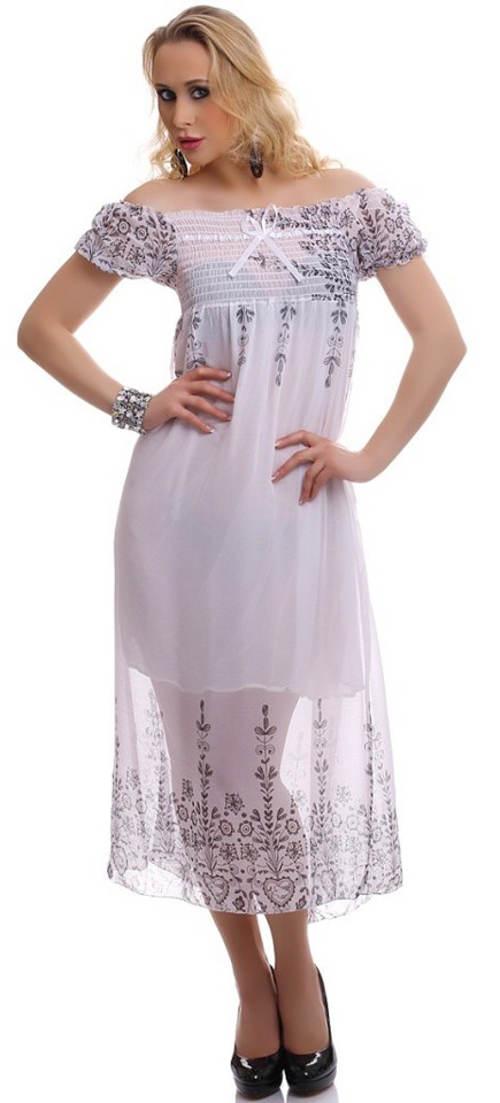Biele dlhé letné šaty s priesvitnou sukňou