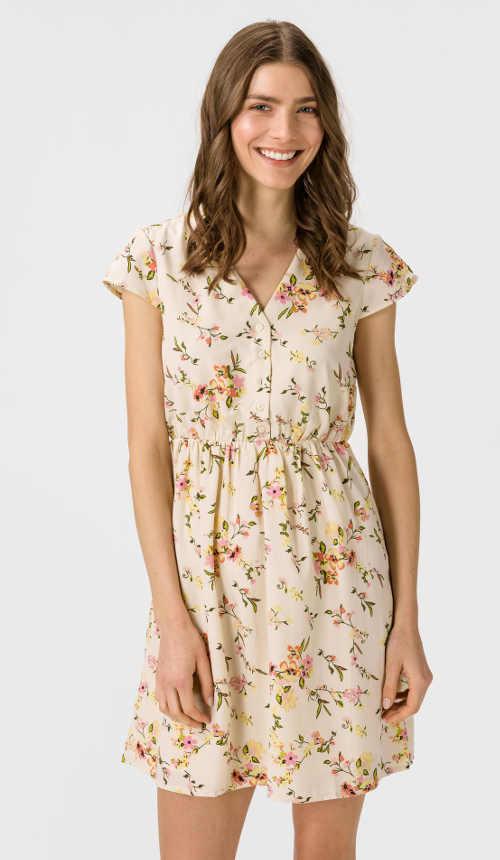 Casual šaty s moderným kvetinovým vzorom v krátkej dĺžke