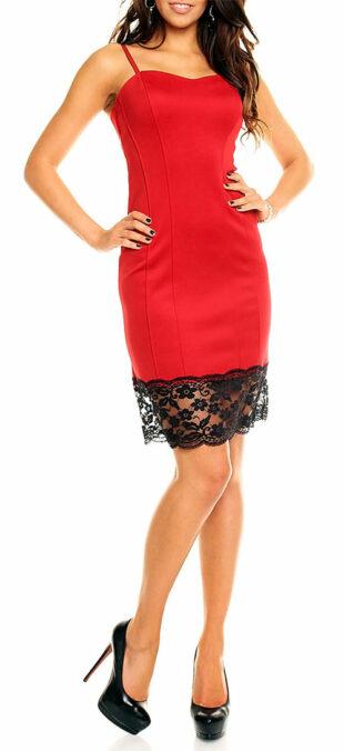 Červené plesové šaty s čipkou