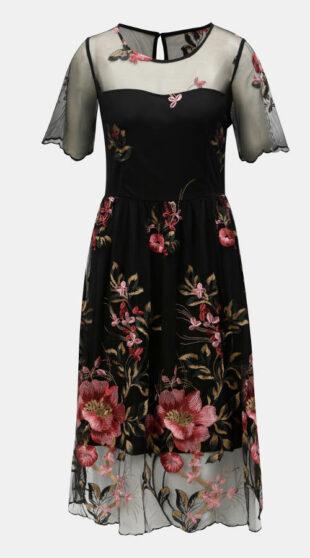 Čierne spoločenské šaty s kvetovanou výšivkou