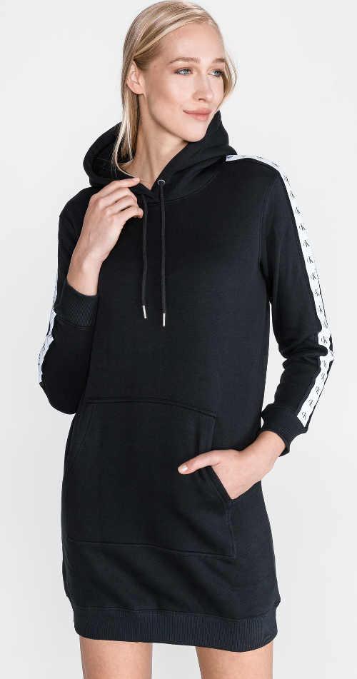 Čierne teplákové dámske šaty Calvin Klein