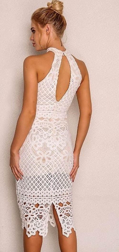 Čipkované šaty s ramienkami za krk