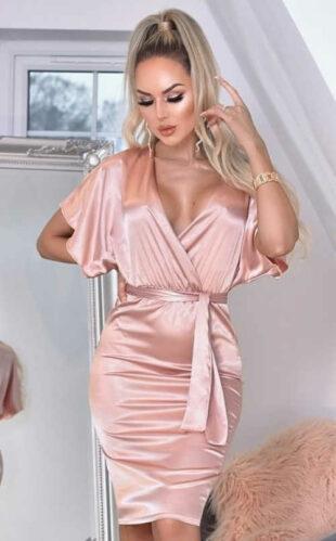 Dámske sexy zavinovacie šaty z lesklého materiálu