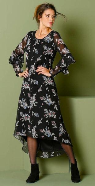 Dlhé čierne asymetrické šaty s kvetinovým motívom