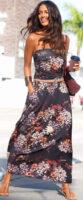 Dlhé letné kvetované šaty bez ramienok