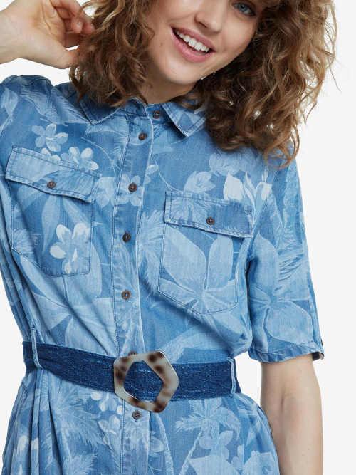 Košeľové šaty s krátkym rukávom a gombíkovou légou