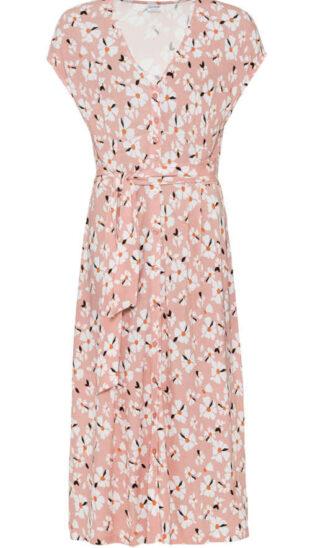 Kvetované žerzejové šaty bez rukávov s výstrihom do V