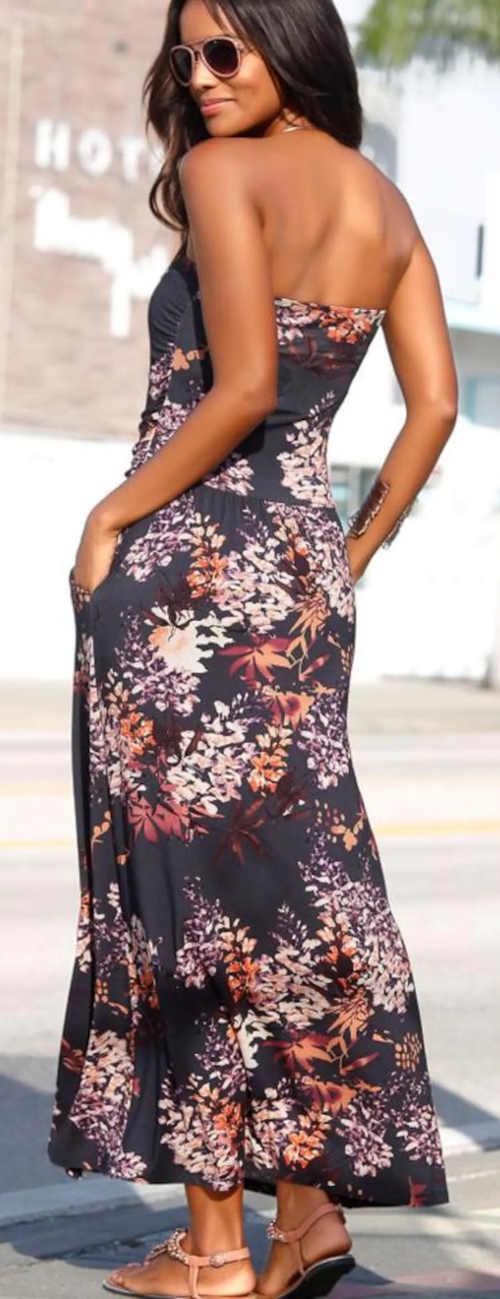 Letné kvetované bezramínkové šaty s vreckami