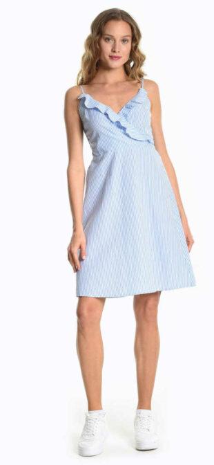 Letné prúžkované šaty s volánikmi v modro-bielej kombinácii