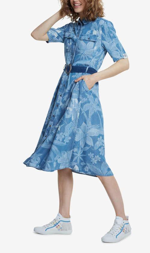 Moderné košeľové šaty s kvetovaným vzorom