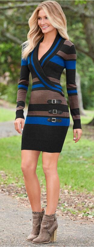 Moderné pruhované pletené šaty