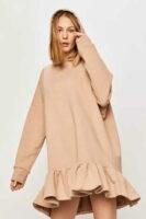 Oversize šaty s kapucňou a volánovým lemom v béžovej farbe