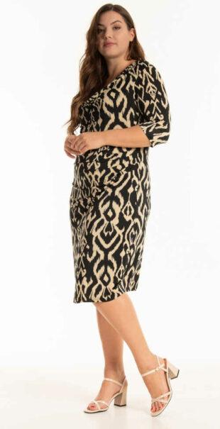 Šaty s potlačou s komfortnými 3/4 rukávmi v dĺžke ku kolenám