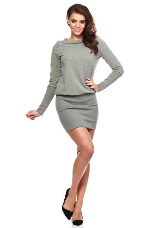 Štýlové mini šaty naberané v páse s dlhým rukávom