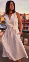 Biele letné dámske midi šaty bez rukávov